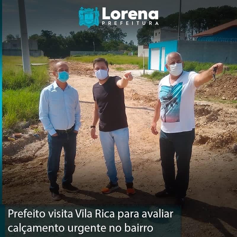 Sylvio Ballerini, prefeito de Lorena, visita bairro Vila Rica visando melhorias no calçamento