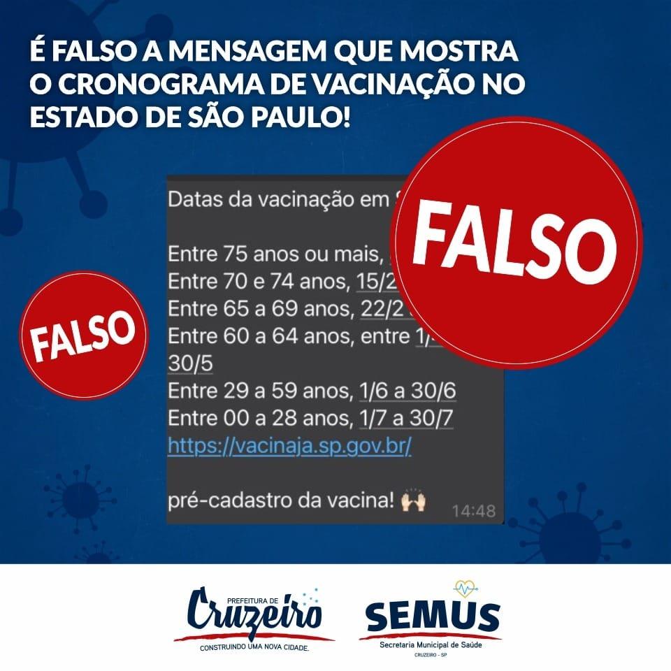 Calendário de vacinação falso circula por Cruzeiro