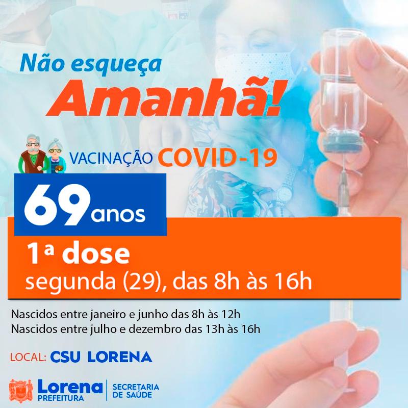 Lorena inicia hoje a vacinação para idosos de 69 anos