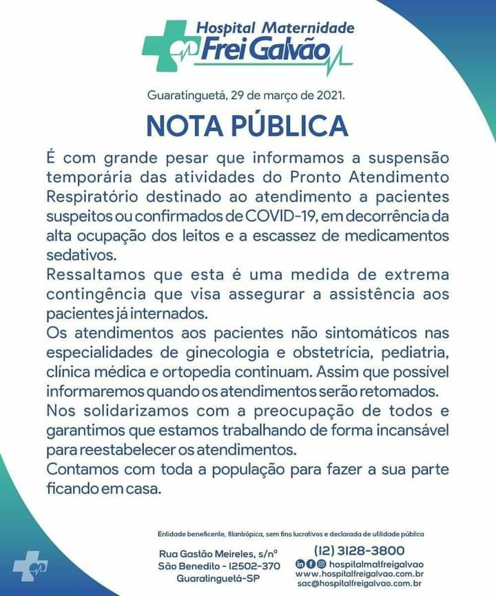 Frei Galvão anuncia paralisação no atendimento de pacientes com à COVID-19