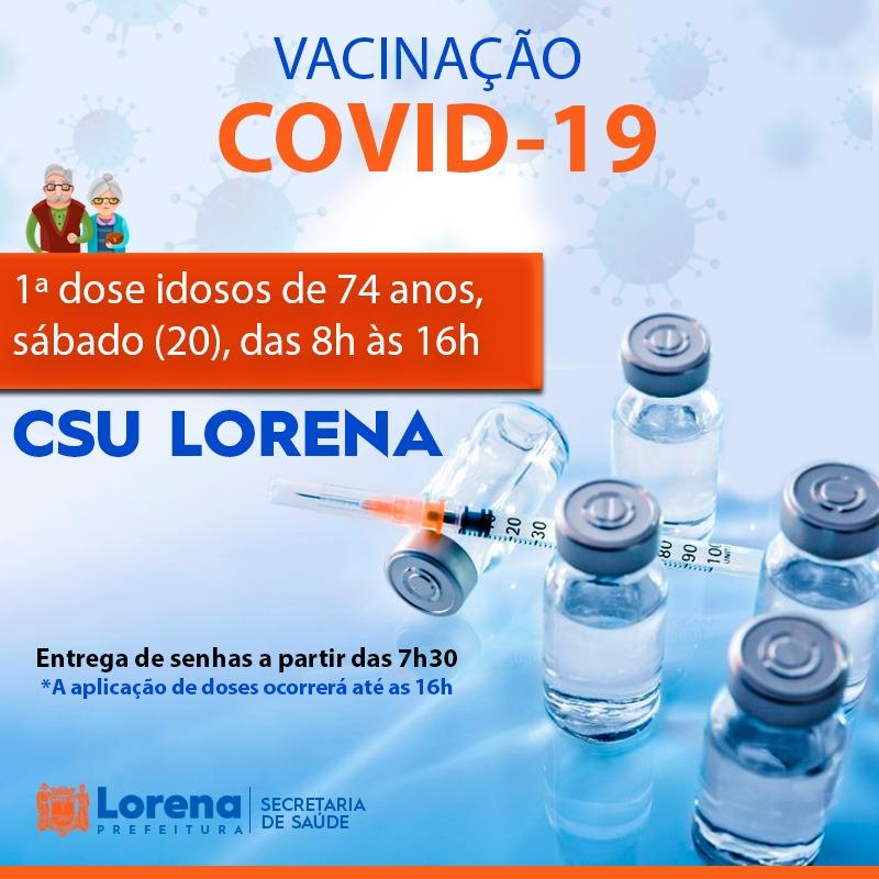 Início da aplicação da 1ª dose em idosos entre 72 e 74 anos em Lorena