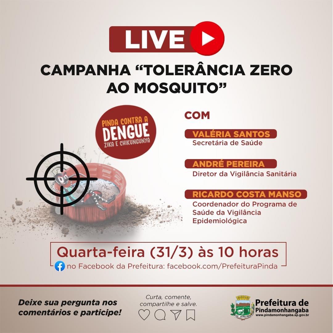 Nessa quarta-feira (31) a Prefeitura de Pinda realizará live pelo combate ao Aedes Aegypti