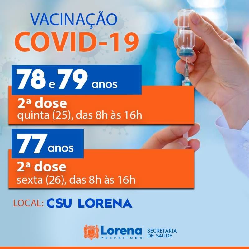 Idosos de 77 a 79 anos receberão a 2ª dose da vacinação nesta quinta-feira (25) e sexta-feira (26)