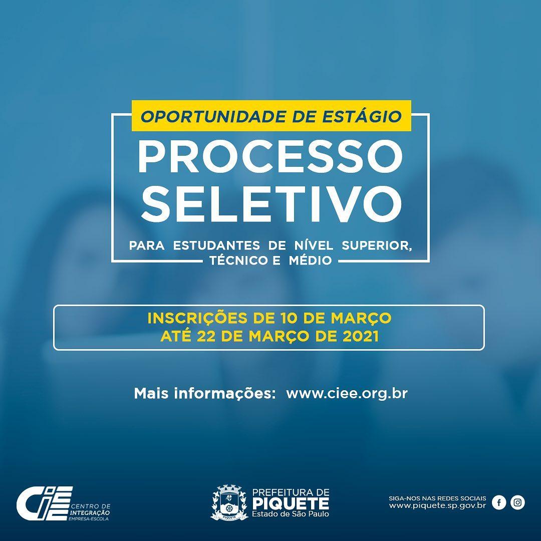 Prefeitura de Piquete divulga resultado do processo seletivo para estagiário