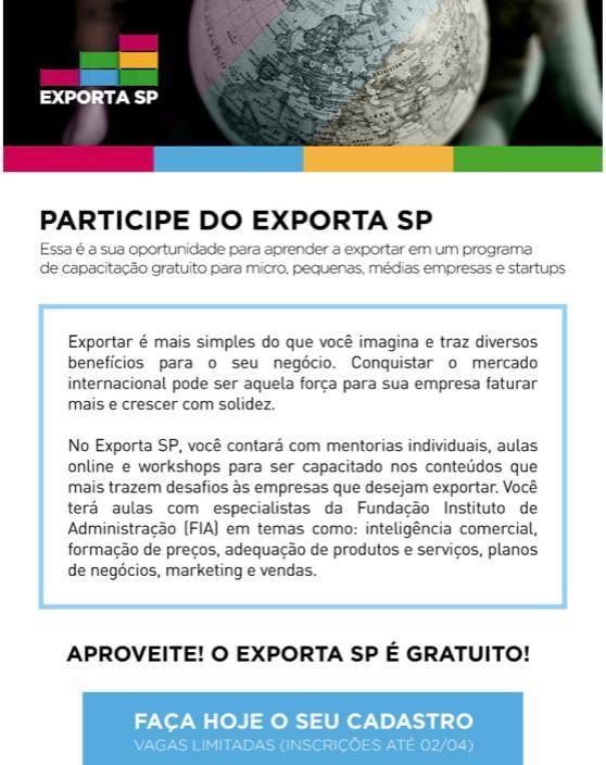 """Inscrições do programa """"Exporta SP"""" se encerram amanhã (02)"""