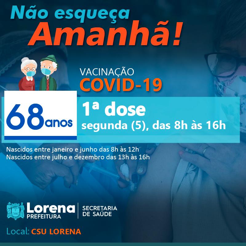 Lorena inicia hoje (05) vacinação para idosos de 68 anos