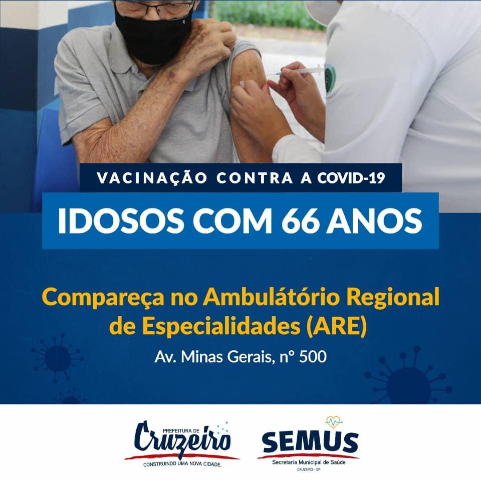 Guaratinguetá e Cruzeiro anunciam vacinação para idosos de 66 anos