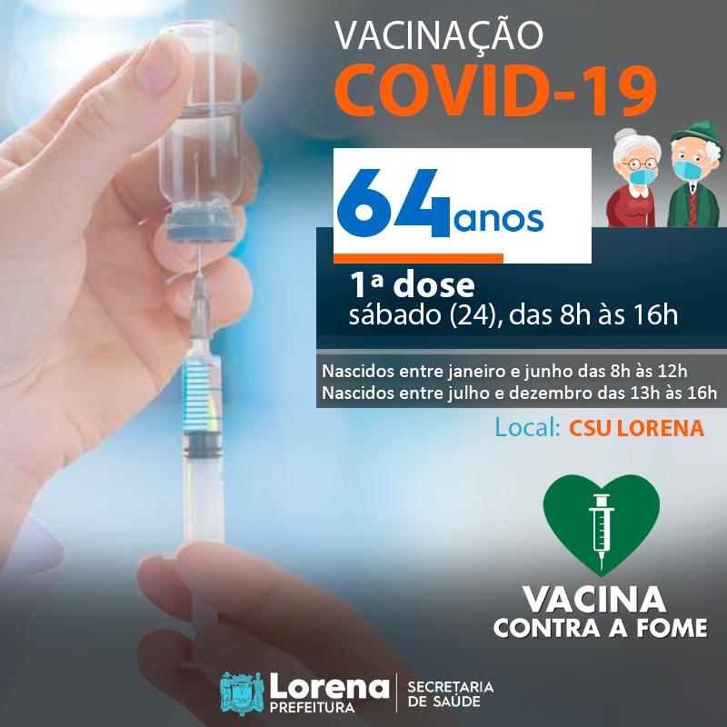 Começa hoje (24) a vacinação contra a COVID-19 para idosos de 64 anos em Lorena