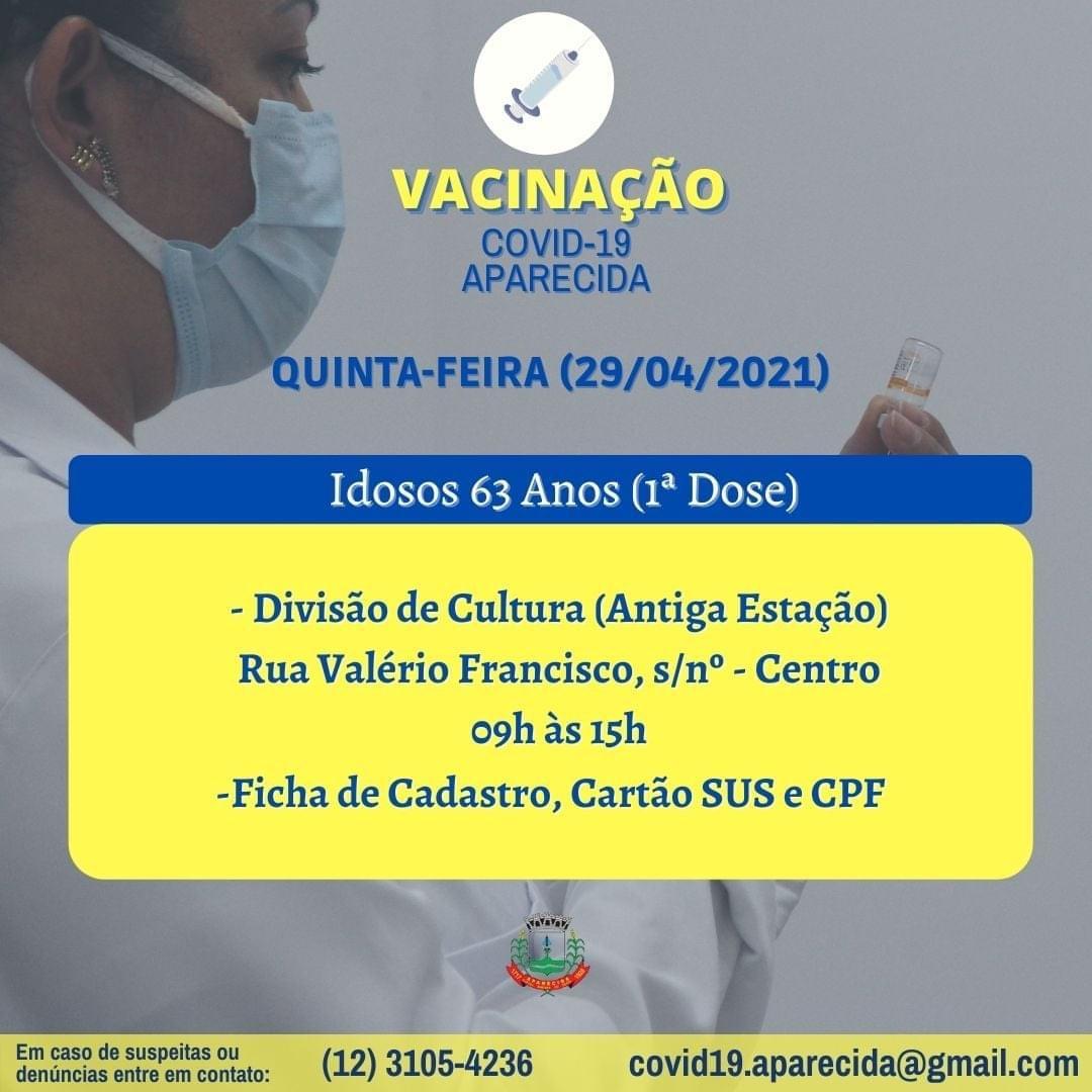 Vacinação contra a Covid-19 hoje (29) em Aparecida