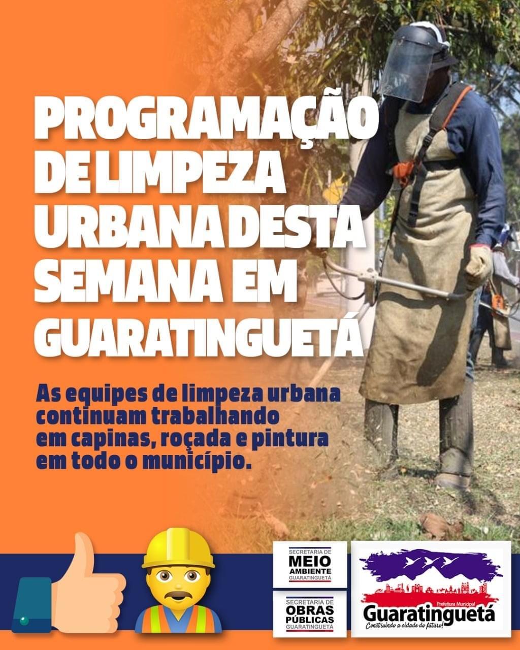 Programação da limpeza urbana em Guaratinguetá