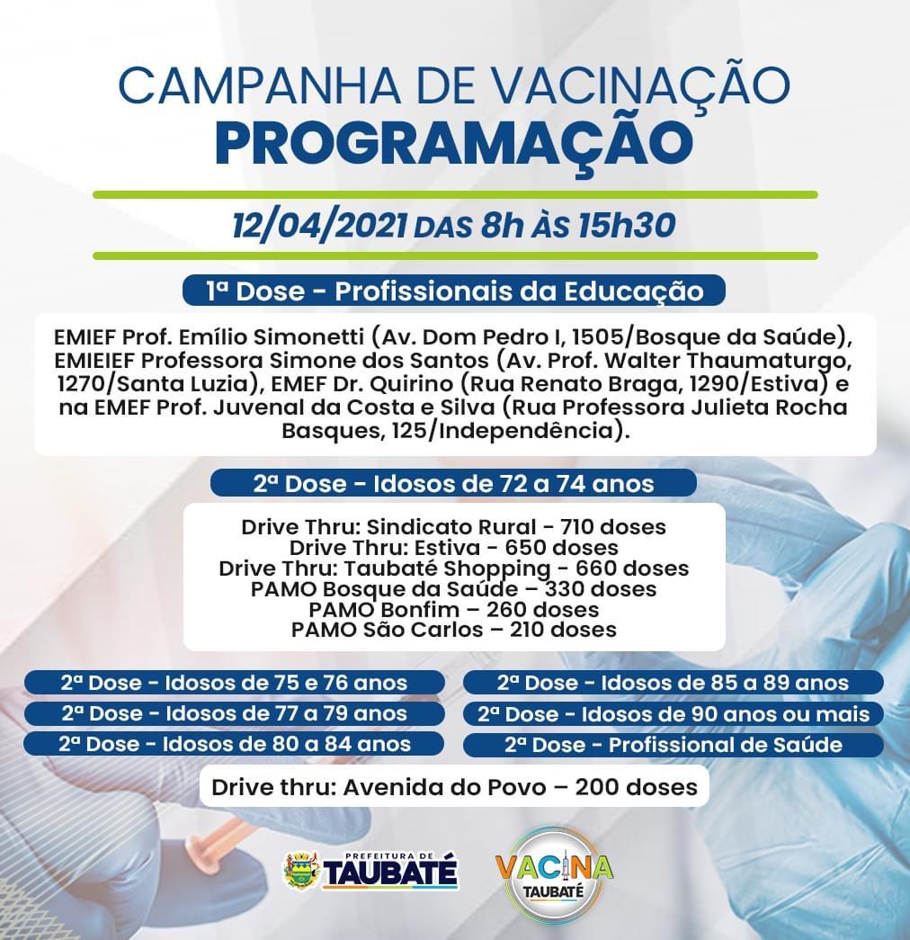 Programação da campanha de vacinação contra a Covid-19 em Taubaté