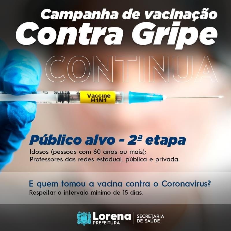 Nova etapa na campanha de vacinação contra a gripe em Lorena