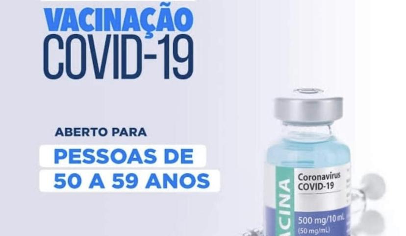 Hoje (21) serão vacinadas as pessoas de 50 a 59 anos sem comorbidades em Cachoeira