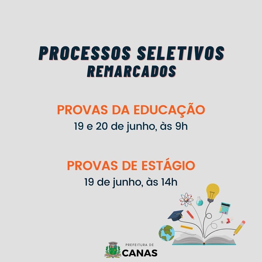 Provas do processo seletivo da Educação e de Estágio são remarcadas em Canas