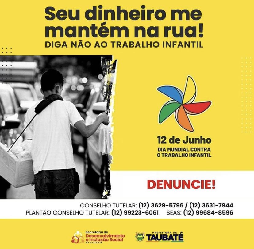Campanha em Taubaté alerta sobre o trabalho infantil