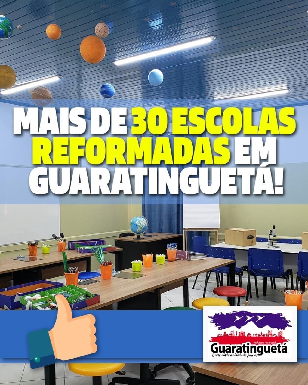 Nos últimos quatro anos, em Guaratinguetá, mais de 30 escolas foram reformadas