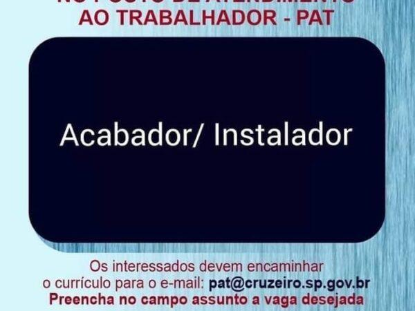 PAT (Posto de Atendimento ao Trabalhador) de Cruzeiro possui nova vaga de emprego
