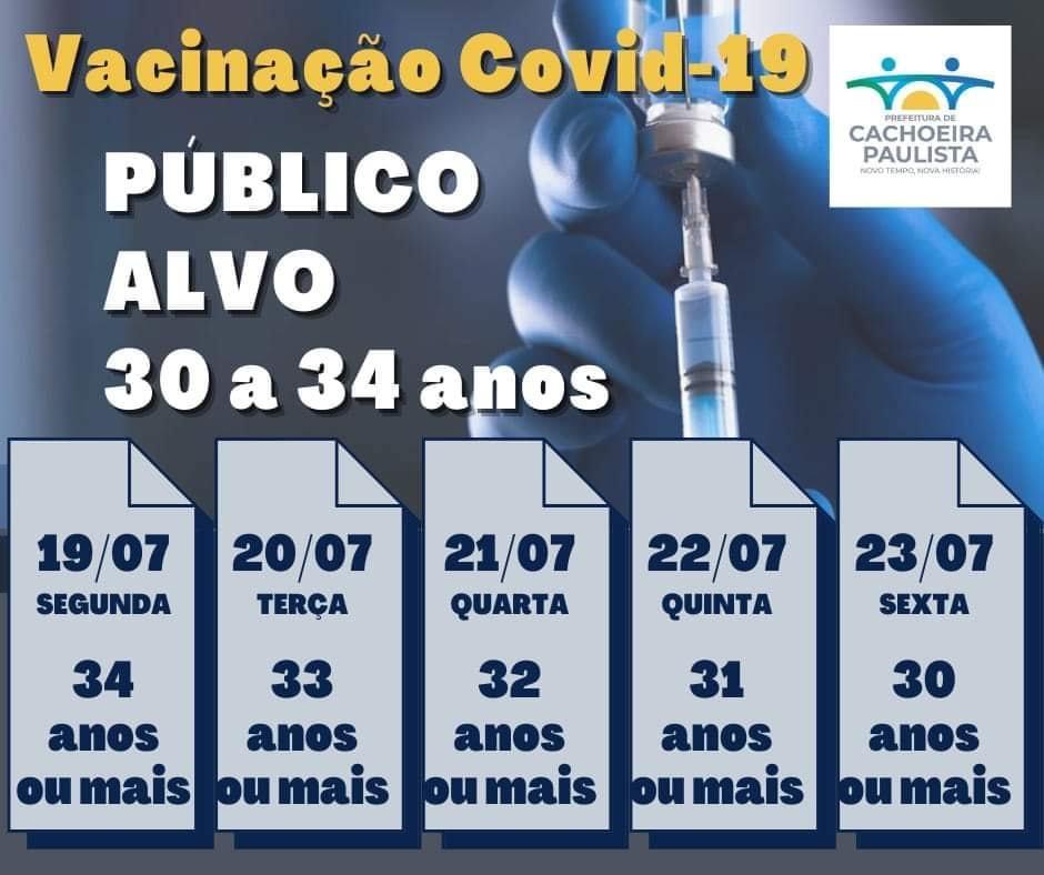 Cachoeira vacina pessoas de 30 a 34 anos a partir de hoje (19)