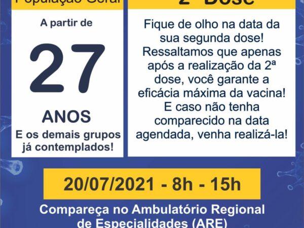 População cruzeirense de 27 anos começa a ser vacinada hoje (20)